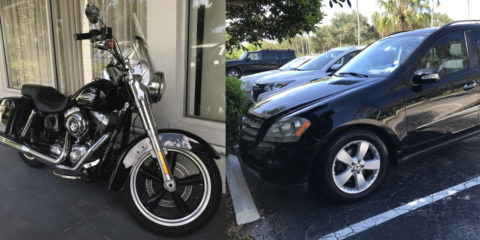 Motorcycle And Suv